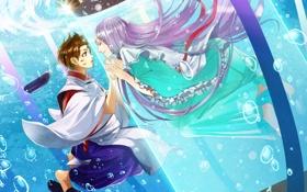 Обои любовь, аниме, двое