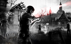 Обои маяк, проволока, деревня, зомби, мужчина, zombie, жетон