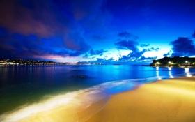 Обои песок, огни, берег