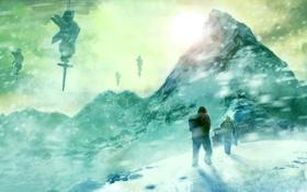 Обои оборудование, путники, станция, снег, арт, горы, метель