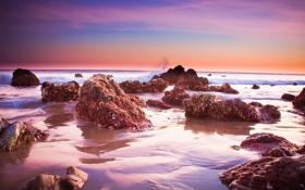 Обои розовый, камни, закат, море