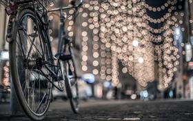 Обои макро, велосипед, огни, фон, обои, настроения, размытие