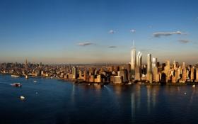 Картинка город, здания, рассвет