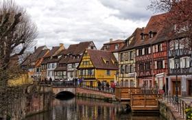 Картинка мост, люди, Франция, дома, канал, Эльзас, Кольмар
