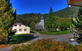Обои деревья, город, фото, улица, дома, Германия, Berchtesgaden