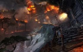 Картинка девушка, пожар, деревня, Tomb Raider, крофт, лара