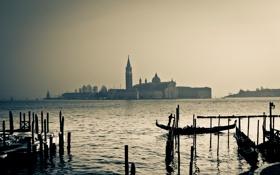 Обои закат, лодка, Италия, церковь, Венеция, канал, гондола