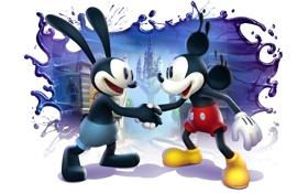 Обои замок, краски, белый фон, дисней, рукопожатие, Epic Mickey 2, The Power of Two