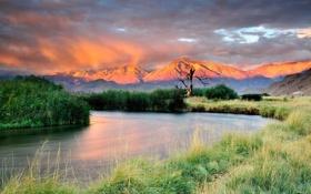 Обои свет, горы, река