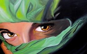 Обои глаза, девушка, зеленый, ресницы, живопись, платок