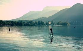 Картинка вода, горы, природа, озеро, серф, альпы, анси