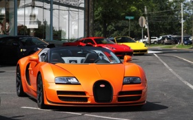Картинка Roadster, Bugatti, Veyron, supercar, orange, Ferrari 458 Italia, Grand Sport