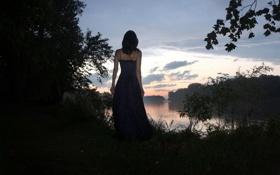 Картинка девушка, ночь, озеро