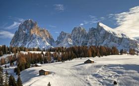 Картинка зима, горы, снег, дома