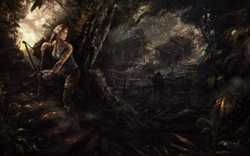 Обои девушка, джунгли, арт, Tomb Raider, Лара Крофт, Lara Croft