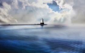 Картинка небо, море, маяк