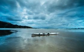 Картинка облака, пляж, отлив, каяк, тучи, море