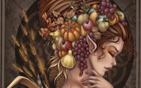 Обои девушка, лицо, эльф, арт, прическа, виноград, профиль