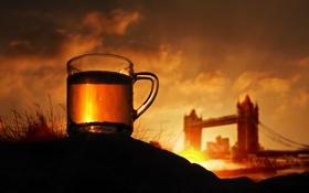 Картинка трава, закат, город, фон, чай, Англия, Лондон