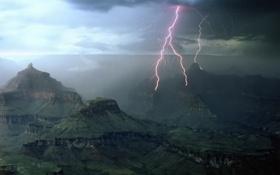 Картинка горы, туман, Молния, Молнии
