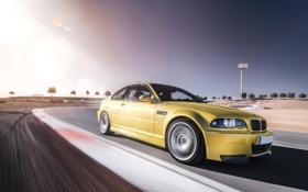 Обои E46, бмв, BMW, gold, золотая, в движение, скорость