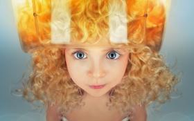 Картинка глаза, взгляд, ребенок, девочка, кудри