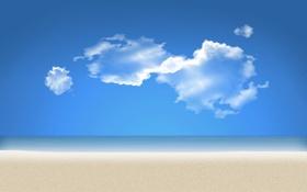Картинка песок, море, небо, мечта, природа, облако