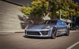 Картинка дорога, Concept, город, скорость, Porsche, размытость, Panamera