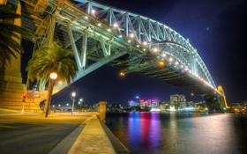 Обои sydney, australia, вечер, огни, мост