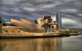 Картинка hdr, Испания, городской пейзаж, Бильбао, музей Гуггенхайма