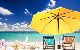 Обои песок, море, пляж, солнце, звезды, зонт, шезлонг