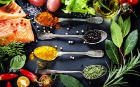 Картинка рыба, перец, помидор, fish, специи, розмарин, pepper
