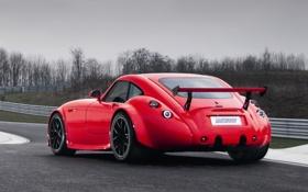 Обои красный, спорткар, Wiesmann, вид сзади, MF4-CS