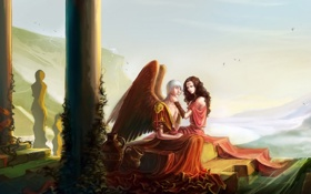 Картинка вода, девушка, крылья, ангел, арт, статуя, парень