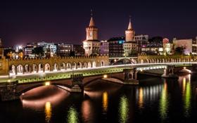 Обои дорога, вода, свет, ночь, мост, город, река