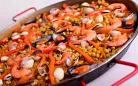 Обои моллюски, креветки, рис, паэлья, нут