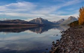 Обои США, осень, озеро Макдональд, Монтана, солнечный день, Национальный парк Глейшер, спокойствие