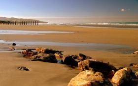 Картинка песок, море, небо, вода, природа, камни, океан
