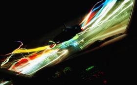 Картинка дорога, стекло, огни, окна, приборы, Машина, окно