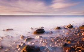 Картинка море, небо, пейзаж, камни, берег, горизонт, wallpapers