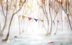 Обои лес, деревья, арт, флажки