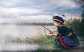 Картинка река, рыбалка, девочка