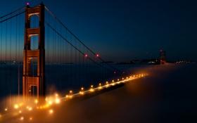 Картинка мост, огни, вечер, золотые ворота, США, Сан Франциско, San Francisco