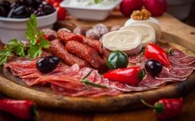 Картинка салями, мясо, маслины, колбаса, еда, зелень, бекон