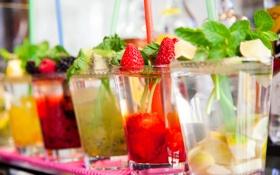 Обои киви, клубника, лайм, lemon, мята, коктейли, strawberry