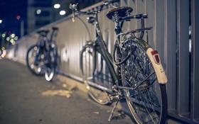 Картинка ночь, велосипед, город, улица