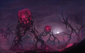Обои ландшафт, шары, холмы, растения, арт, фантастический мир, розовое