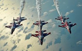 Обои группа, полёт, F-16, Fighting Falcon, пилотажная, ВВС Сингапура, Чёрные Рыцари