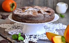 Обои пирог, мята, выпечка, салфетка, хурма