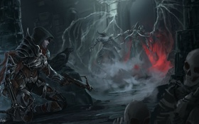 Обои девушка, замок, крылья, арт, скелеты, нежить, Diablo III
